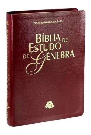 Bíblia De Estudo De Genebra Capa Vinho Couro Sintético