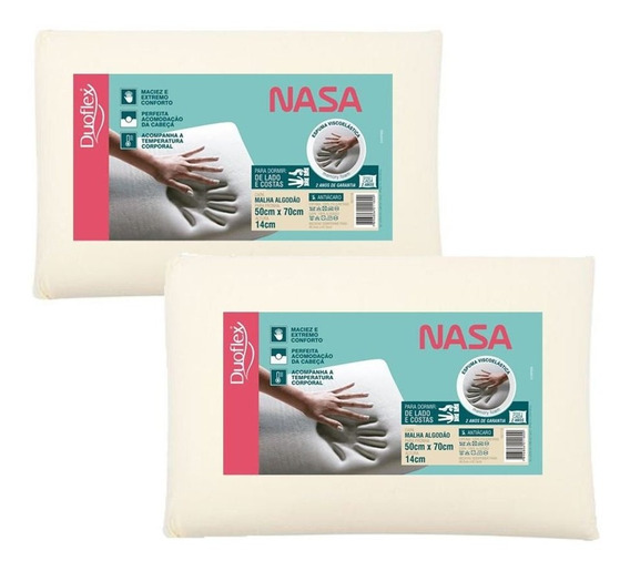 Kit 2 Travesseiros Nasa Alto Viscoelástico 14 Cm Duoflex