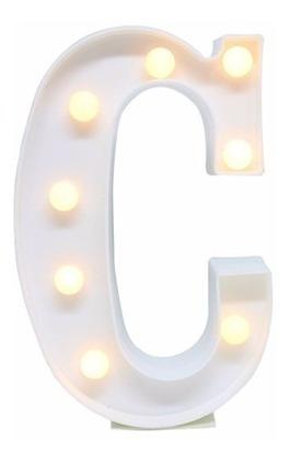 Luminaria Abajur Letra C C/ Luz Led A Pilha Mesa E Parede