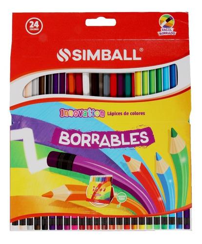Imagen 1 de 6 de Lápices De Colores Borrables Largos X 24 Colores  Simball