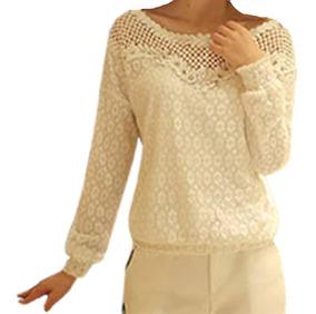 Camisa Feminino Blusa Social Em Renda De Luxo Foto Real