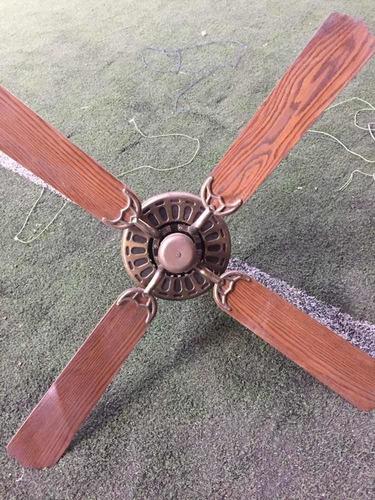 Ventilador De Techo 4 Palas Madera Y Bronce