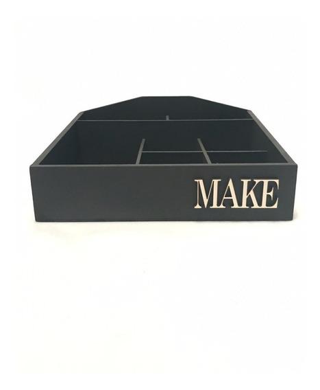 Caixa Organizador Maquiagem Batom Pincel Make Madeira