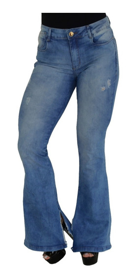 Calça Jeans Feminina Flare Rasgada Barra Aberta Na Perna