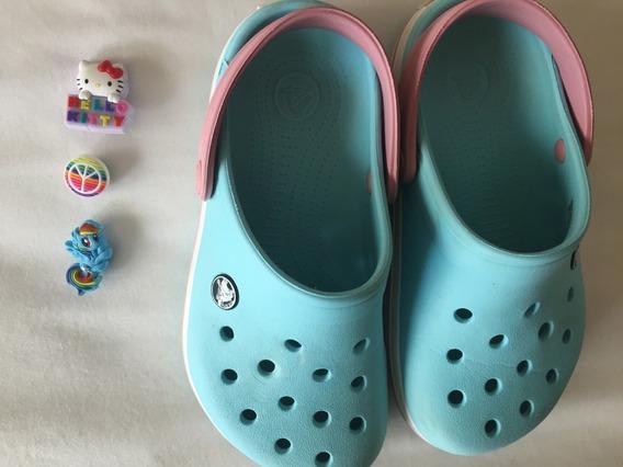 Crocs Originales Niñas Impecables Talle J2 Con 3 Pins