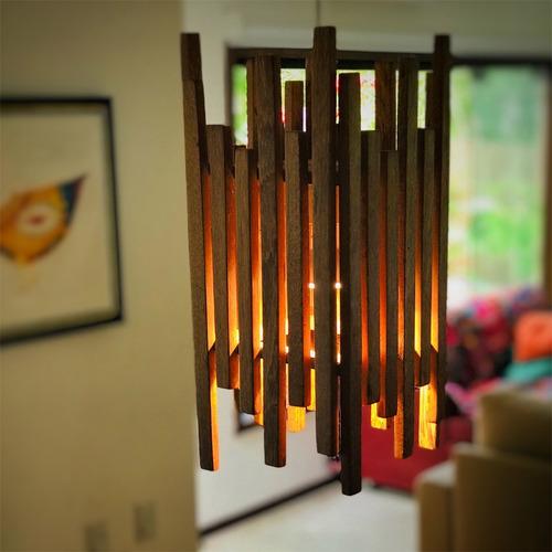 Luminária Teto Pendente Led Design Artesanal Madeira
