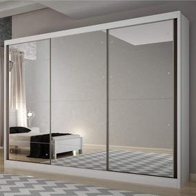 Guarda Roupa Casal Com Espelho 3 Portas 8 Gavetas Fj