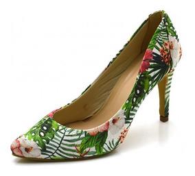 Sapato Social Scarpin Feminino Estampa Flores Salto Fino