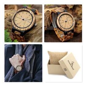 Relógio De Pulso Masculino Bambu Pulseira Madeira Bobo Bird