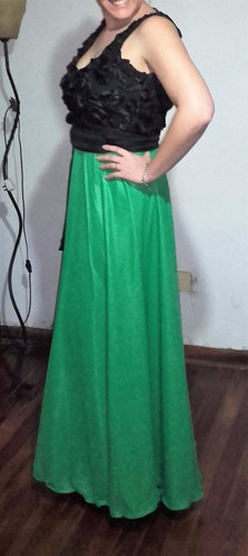 Vestido De Fiesta Largo Verde Y Negro De Diseñadora