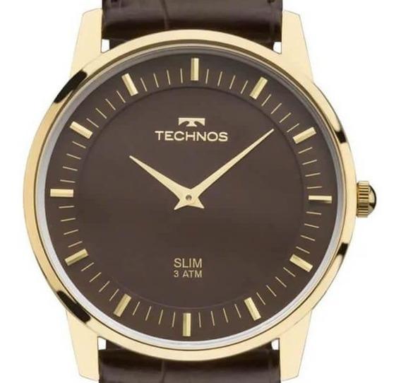 Relógio Technos Masculino De Couro Marrom Loja Autorizada