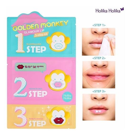 Holika Holika Golden Monkey Labios Nutre Hidrata 3 Pasos