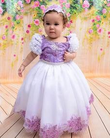Vestido Infantil Festa Luxo Lilás E Branco