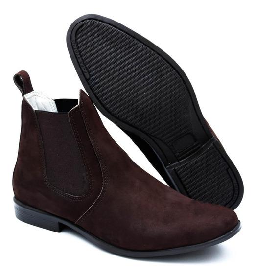 Bota Botina Masculina Chelsea Boots Em Couro Legitimo Luxo
