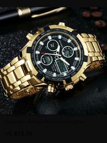 Relógio Amuda, Mens Sport Watch Led Ouro, Grande.