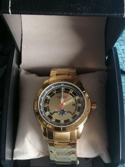 Relógio Masculino Dourado Em Aço Inoxidável +caixa Premium