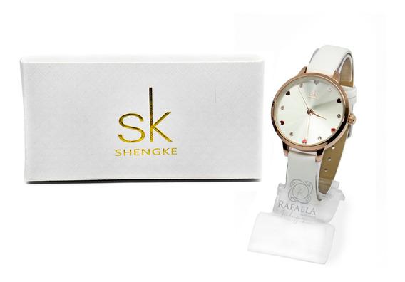 Relógio Feminino Sk Shengke Luxo Resistente A Água C/ Nf-e
