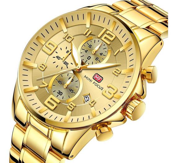 Relógio Masculino Dourado Minifocus Original Luxo Barato