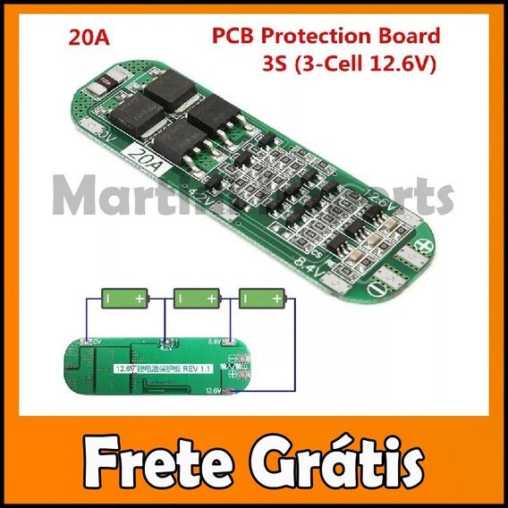 Proteção 3s Bms Bateria 18650 Li-ion 20a 5 Unidades