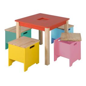 Mini Móvel Infantil Mesa Com Banquinhos Vermelho Ia