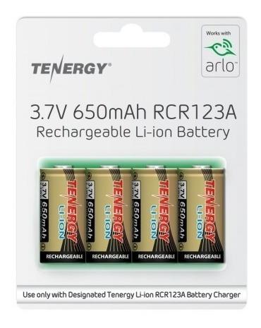 Bateria Recarregável Rcr123 Tenergy 3.7v 650 Mah Arlo 4 Un