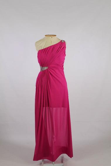 Vestido De Festa Longo Pink Bordado Recorte Nas Costas Pp P