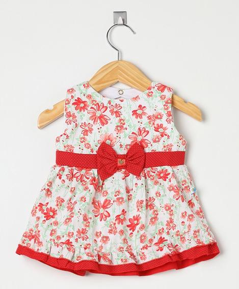 Vestido Bebê Menina Floral Vermelho
