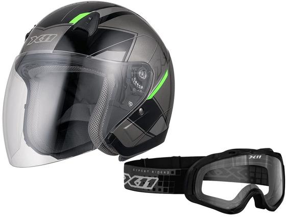Capacete X11 Freedom Metric Aberto + Óculos X11 Mx 2 Trilha
