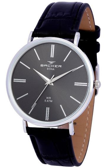Relógio De Couro Masculino Backer Bona -10810122m - Promoção