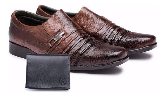 Sapato Masculino Social + Carteira Kit Couro Verniz Brilhoso