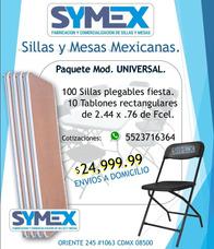 Paquete De 100 Sillas Plegables De Plastico + 10 Tablones