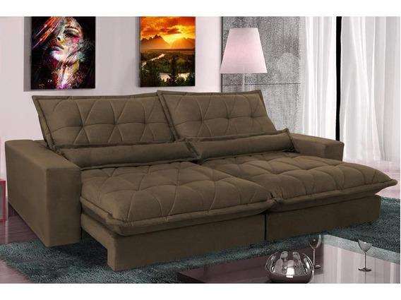 Sofa Reclinável Molas Ensacadas Cama Inbox Soft 2,52m Café