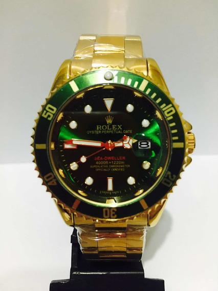 Relógio Submariner Gold Verde Caixa Grande De 45mm