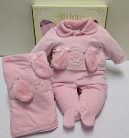 Saida Maternidade Plush Bebe Menina Macacao Bela Fase 5304