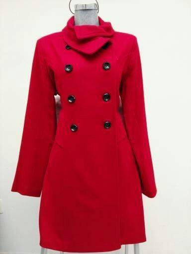 Abrigo Fashang Liso Rojo Cruzado Ropa Invierno Dama Mujer