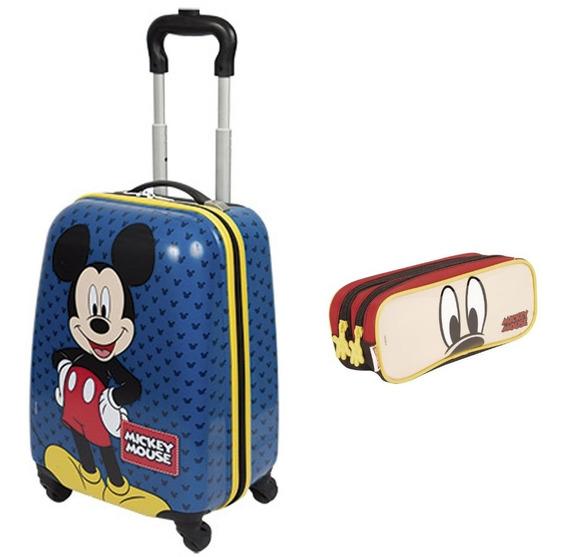 Malinha Infantil Mala Mickey Azul 19pc 360 Sestini + Estojo
