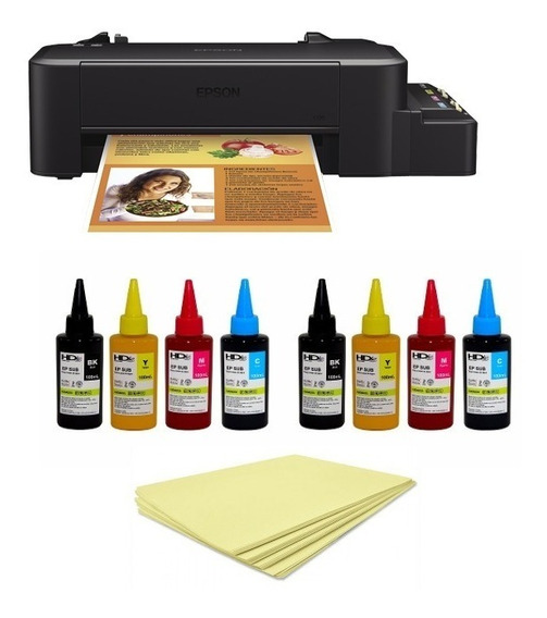 Impressora A4 Epson L120 8 Frascos Tinta Sub 1000 Folhas A4