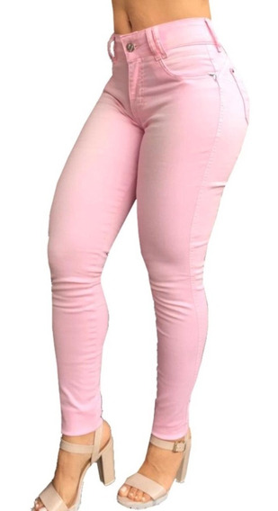 Calça Jeans Rosa Skiny Set For Levanta Modela Bumbum Femini