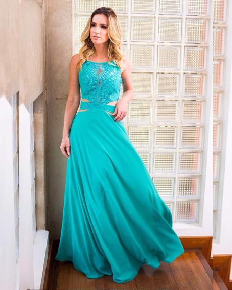 Vestido Madrinha Tiffany Festa Longo Evasê Renda Decote L157