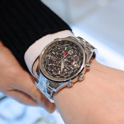 Relógio Citizen Drive Preto Sapphire Chrono World Time