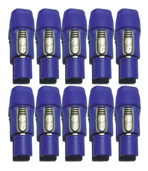 10 Plug Conector Macho Powercon Azul Ac 20a Tipo Neutrik