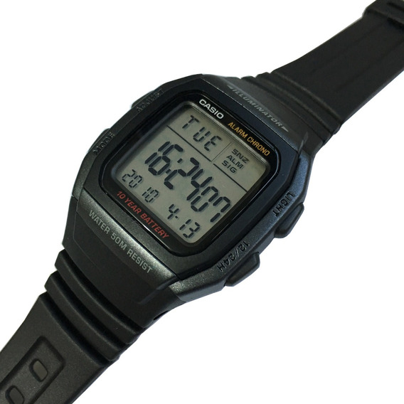 Relogio Casio Digital W-96h 1bv Alarme Crono Wr.50m Original