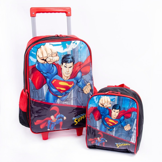 Kit Escolar Mochila De Rodinhas Lancheira Superman Meninos