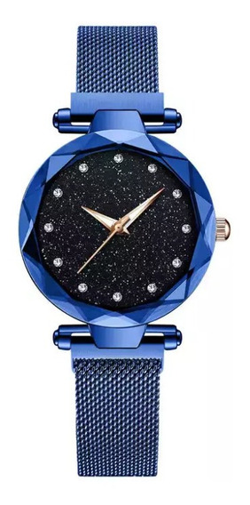 Relógio Feminino Céu Estrelado Luxo Pulseira Magnética