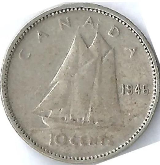Canadá 1946 10 Cents Moneda Plata Cal 800 George Vi L16719b