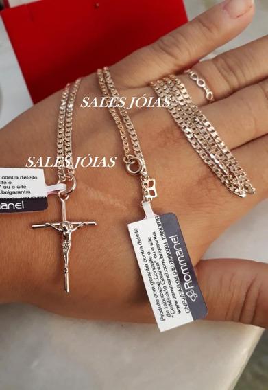 Cordão 70cm + Pingente Cruz C/ Cristo Rommanel 531878 540027