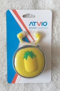 Audífonos Más Estuche Para Guardarlos, Atvio, Diseño Piña