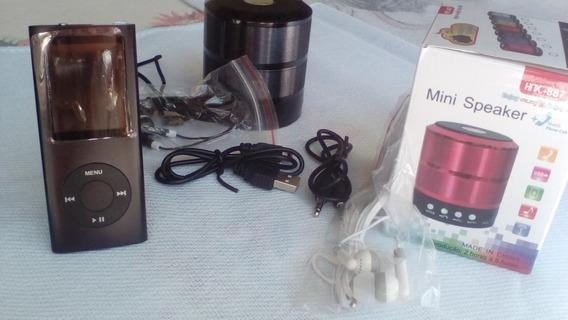 Mp3 Player Mp4 Com Radio Fm+caixinha De Som+fone+cabo Usb.