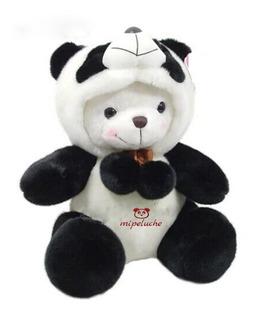 Oso Con Disfraz De Panda Capucha Peluche 40 Cm Osos Pandas