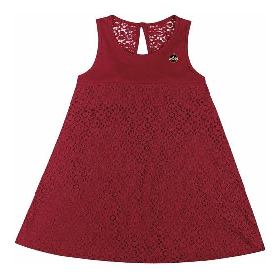 Vestido Infantil Feminino Elian Vermelho Renda Verão
